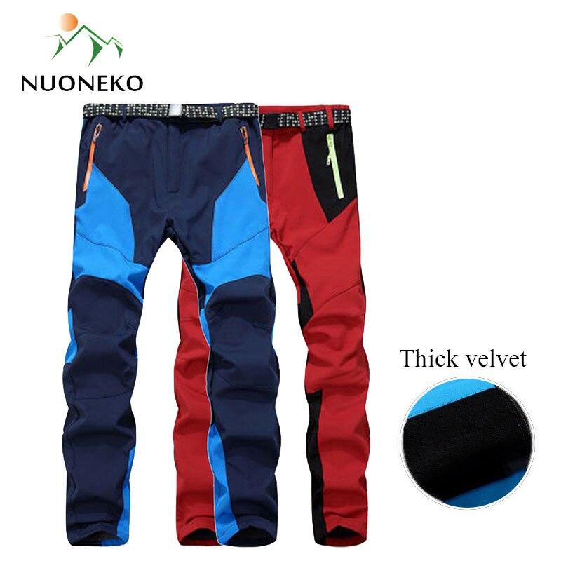 NUONEKO Men Women Winter Hiking Pants Waterproof Softshell Fleece Pants Sport Skiing Outdoor Pants Pantalon Trekking Hombre PM29